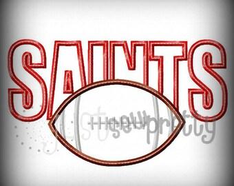 Saints Football Embroidery Applique Design