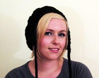 Slouchy Earflap Hat - Black