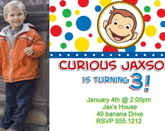 curious george card  etsy, Birthday invitations