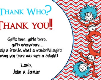Dr. Seuss Thank You Card, Thank You Birthday Cards, Printable File