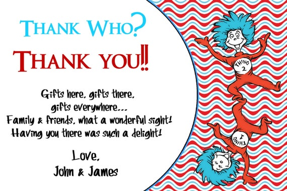 Dr. Seuss Thank You Card Thank You Birthday Cards Chalkboard