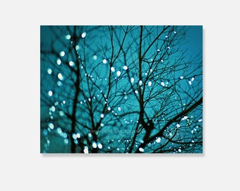 nature photo canvas wrap, tree photography, bokeh twinkle lights, dreamy blue nursery decor, gallery wrap, cerulean, ready to hang, twigs