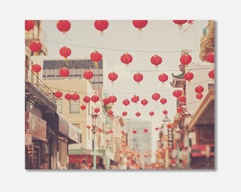 Chinatown canvas wrap, San Francisco, red paper lanterns, chinese lanterns, travel photography, asian, California wall art, gallery wrap
