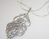 Silver Peacock Feather Filigree Pendant on 18 inch Platinum Chain
