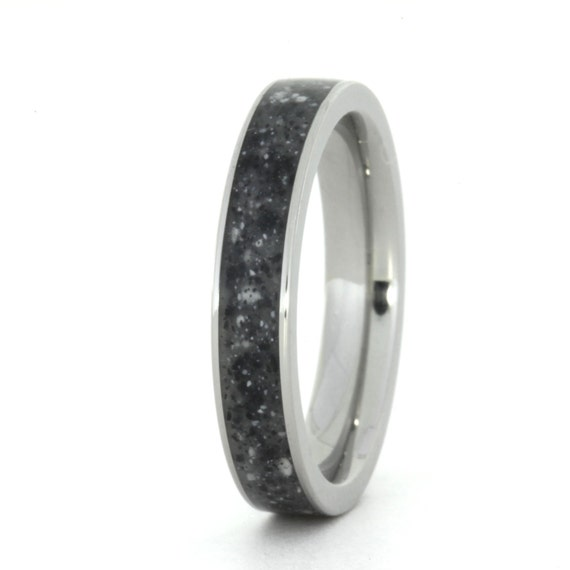 Gray Concrete Ring Inlaid In A Titanium Ring By Jewelrybyjohan