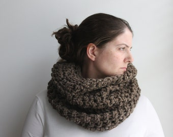 Oversized Knit Scarf, Oversized Cowl, Hoodie Scarf, Pullover Scarf, Chunky Cowl Scarf, Hood Scarf, Snood, Brown Scarf