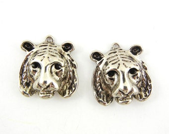 Pair of Antique Silver-tone Tiger Head Charms