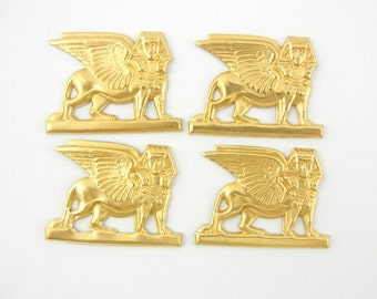4 Right Facing Brass Facing Egyptian Sphinx Stampings