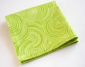 Organic Napkins, Eco Friendly Cloth Napkins, Reusable - Lime Green Swirl, Set of Four