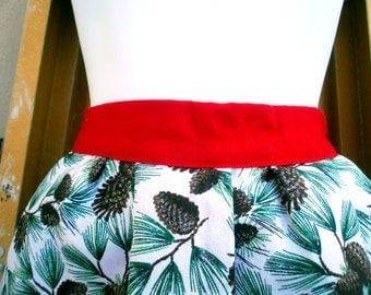 In Christmas fabric APRON for girls or Moms