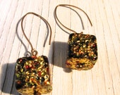 HOLIDAY Earring Gold Venetian Glass Cubes