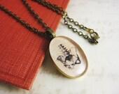 "Skeleton Pelvis Medical Illustration resin necklace - Vintage Medical Art Pendant - 19"" bronze chain with matching clasps"