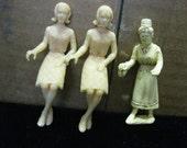 Sale 3 Vintage Dollhouse Dolls Lot Marx MPC Sitting Nurse Standing NOT PERFECT