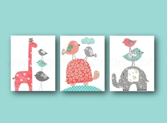 baby girl nursery decor kids wall art elephant by galerieanais. Black Bedroom Furniture Sets. Home Design Ideas