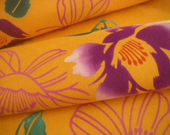 Vintage cotton Honzome Yukata Japanese kimono fabric (flower,orange)never used