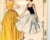 1950s Evening Dress Easy McCall's Pattern 5200 Camisole Top, Tie Straps, Full Skirt Evening Gown, Fit and Flare Cocktail Dress Sz 14 Bust 34