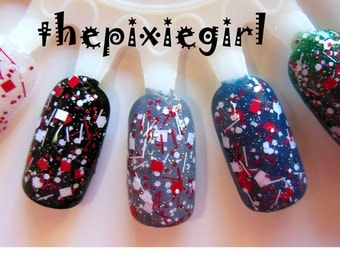 Red White Holographic Glitter Handmade Indie Nail Polish Topcoat Great For the Holidays