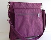 Sale - Deep Plum Water Resistant Nylon Messenger Bag - Shoulder bag, Purse, Cross body, Tote, Hip bag, Travel bag, Women - Judith