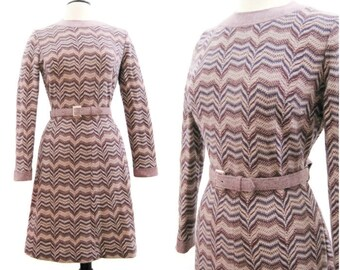 70s Dress Vintage Zig Zag Wool Knit Day Dress M L