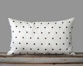 Copper Studded Pillow Cover in Cream Linen 12x20 | Polka Dot Pattern | by JillianReneDecor | Geometric Pillow | Home Decor | Copper Studs