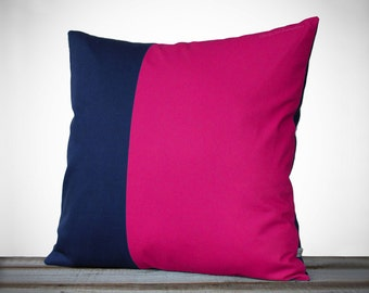 Minimal Linen Pillow Cover in Hot Pink and Navy - 18x18 - by JillianReneDecor   Modern Home Decor   Two Tone   Scandinavian Inspired