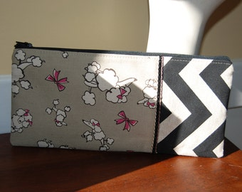 Poodle Zippered Pouch Black and Gray Cosmetic Bag
