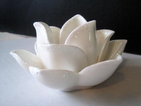 White Ceramic Lotus Flower Candle Holder Tea Light By