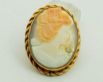 Vintage 12k Gold Filled Diamond Cameo Brooch Cameo Pendant Genuine Diamond Shell Cameo Brooch Pendant Gold Cameo with Diamond Accent