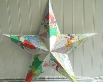 Vintage map covered metal star decoupaged tin star Bright one of a kind collaged star