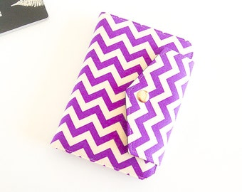 Passport Wallet , Travel Wallet, Organizer for Two (2) OR Four (4) Passports in Purple Chevron - MADE To ORDER
