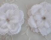 2pc White Satin Organza Ric Rak Flower Applique w rhinestone Baby Bonnet Doll Hat Bridal Christening Corsage