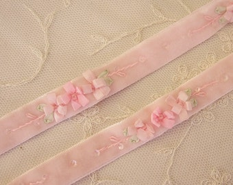 Hand Embroidered PINK VELVET Ribbon Daisy Flower Trim Antique Vintage Bridal Baby Doll Christening Gown