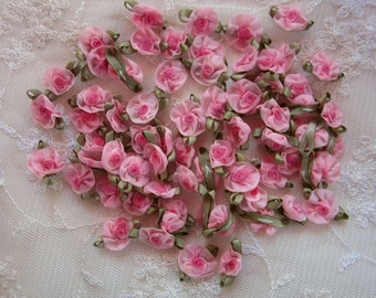 Fabric Flowers 72pc PINK Shabby Chic Baby Doll Costume Pageant Hair Bow Bridal Wedding Favor
