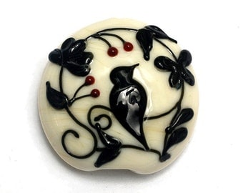 Glass Lampwork Bead - Tranquility Vines Opaque Lentil Focal Bead 11830702