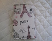 CUSTOM MADE to Order Checkbook cover or Coupon Organizer Paris in Pink Glitter Eiffel Tower