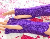 Crochet fingerless gloves - purple sparkle