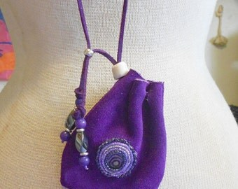 """Beaded Abalone Shell / Purple Suede Leather Necklace Pouch - Medium Size 11 x 8.5 cm. (4 3/8"""" x 3 3/8"""") with Hematite / Howlite - OlyTeam"""
