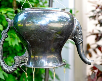 Wind Chime - Very Beautiful, Etched Vintage Tea Pot Wind Chime