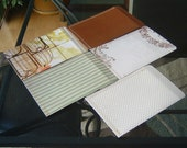 large paper mailing envelopes - dear Jane -  birdcage - rose - green stripe - brown