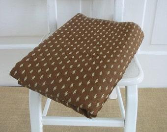 Vintage Upholstery Fabric, Vintage Yardage, Vintage Brown Fabric, Supply Brown Blue