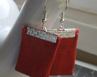 Red Bohemian Repurposed Textured Fabric Textile Earrings