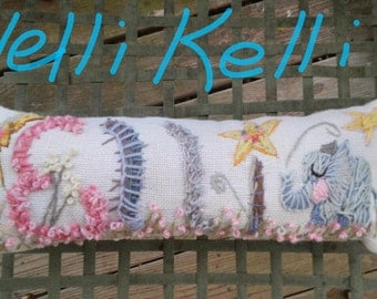 Freehand Embroidered Bohemian Letters Name Pillow Custom Made UP TO FIVE Letters