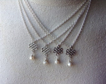 4 Pack Celtic Knot and Pearl  Necklace