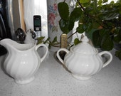 Vintage White Pottery Shabby Chic look Creamer and Sugar Bowl with lid double handles