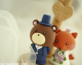 fox and bear with tree and stump cake topper---k733