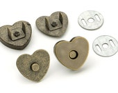 30 pcs Heart Shaped 18mm Magnetic Purse Snap Antique Brass (MAGNET SNAP MAG-160)