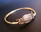 Gold Owl Bangle, brass owl bangle, bird jewelry, stackable bangle, bird bracelet, bird lover, owl jewelry