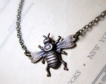 Queen Bee- Antiqued brass simple bee necklace, bumblebee, asymmetrical, flying wasp, detailed wings, bee jewelry