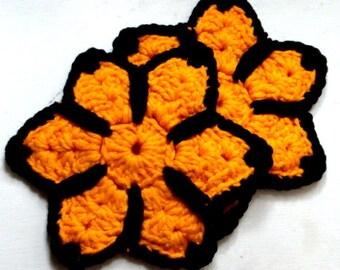 Set of 2 Golden Yellow Orange and  Black Vintage Potholders, Pot Holders, Hot Pads, Crocheted Yarn, Kitchen Decor (188-14)
