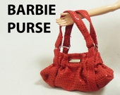 Red Synthetic Leather Barbie Doll Purse